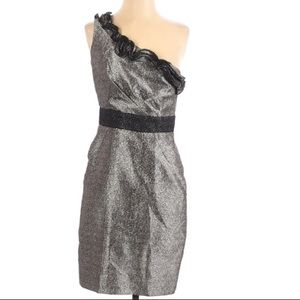 max and Cleo Silver brocade one shoulder dress